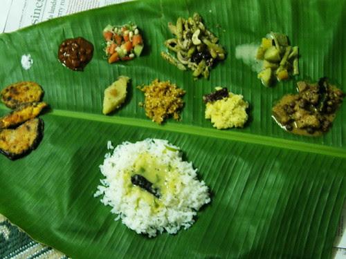 served on plantain leaf