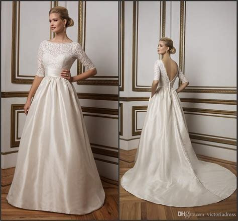 Satin A Line Wedding Dress Champagne Soft Lace Sabrina