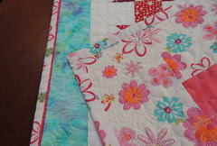 Upcycled Shoo Flies - Quilting detail front and back