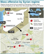 Maps locating latest violence in Damascus and across Syria. (AFP Photo/)