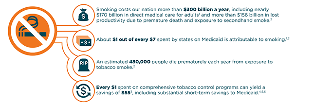 Smoking costs our nation more than $130 billion a year in direct medical costs and more than $150 billion a year in lost productivity. About $1 out of every $7 spent by states on Medicaid is attributable to smoking. An estimated 480,000 people die prematurely each year from exposure to tobacco smoke. Every $1 spent on comprehensive tobacco control programs can yield a savings of $55.