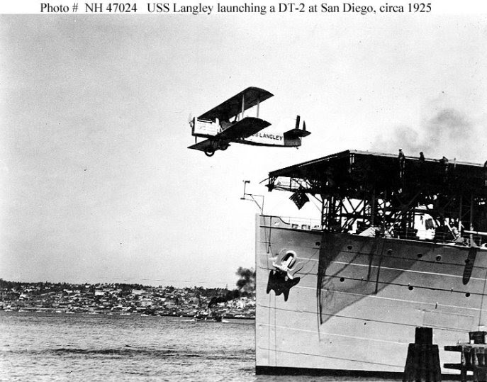USS Langley launching a mostly wooden DT-2 in San Diego, Calif., circa 1925