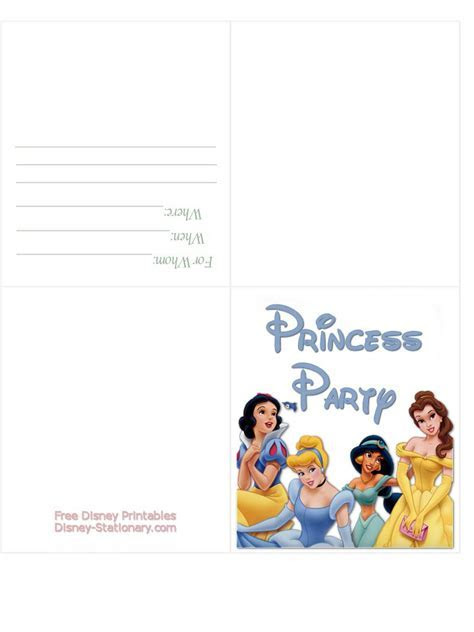 All Princesses Birthday Invitation Cards