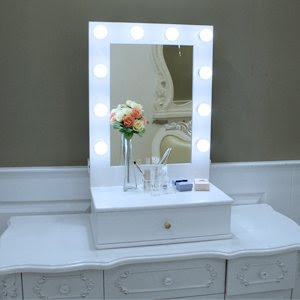 Chende Hollywood Makeup Vanity Mirror With Light Tabletops Lighted
