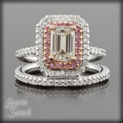 Emerald Cut Diamond and Pink Sapphire Double Halo