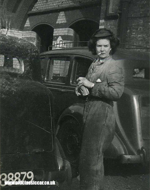An ATS girl smoking a Woodbine while working on a Humber