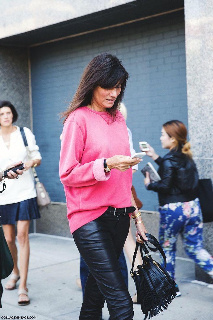 Le Fashion Blog -- Emmanuelle Alt in a bright pink sweatshirt, Saint Laurent fringe bag and leather pants -- NYFW Street Style Via Collage Vintage -- photo Le-Fashion-Blog-Emmanuelle-Alt-Bright-Pink-Sweatshirt-Leather-Saint-Laurent-Fringe-Bag-NYFW-Street-Style-Via-Collage-Vintage.jpg