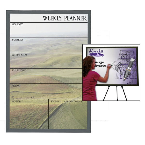 Customized Premium Brilliant Dry Erase Board 23 X 35 Black Wood