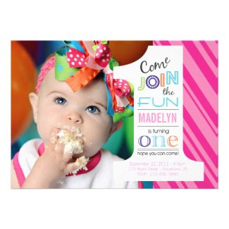 Number Fun FIRST BIRTHDAY invitation
