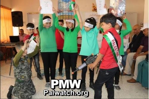 "Children ""killing"" an Israeli soldier, Hebron school, April 18, 2016"