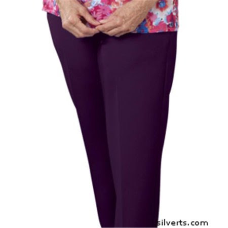 Silverts 130902605 Womens Elastic Waist Pants 2 Pockets - Ladies Pull On Pants - 16, Deep Purple