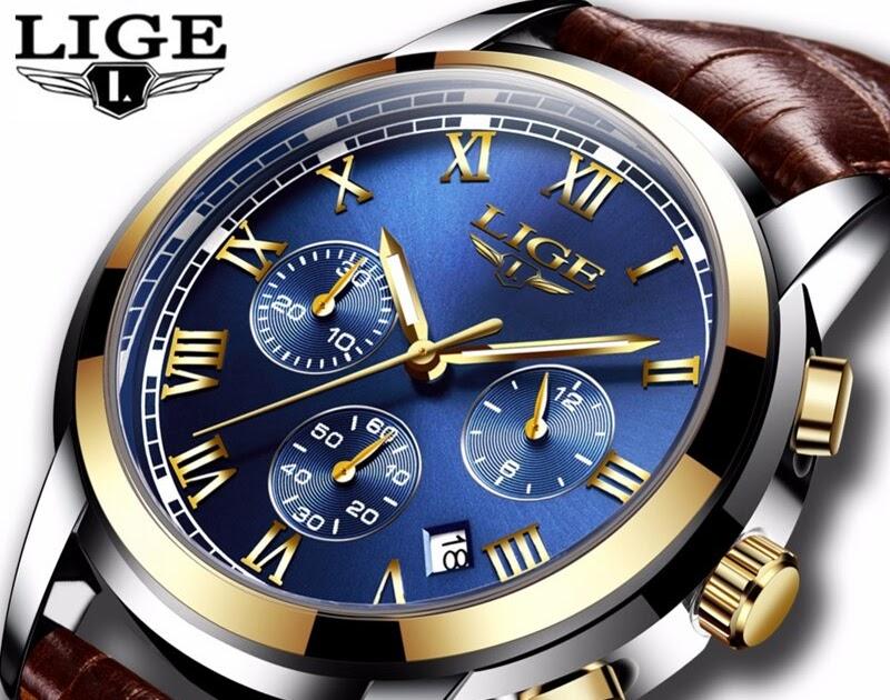 76a36501344d Comprar 2018 Novos Relógios Homens Marca De Luxo LIGE Chronograph Sports  Dos Quartzo Couro À Prova D Água Relógio Analógico Relogio Masculino  Baratas Online ...