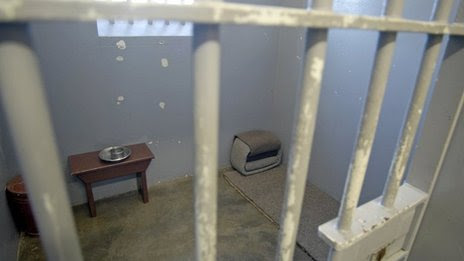The cell occupied by Nelson Mandela in Robben Island, South Africa