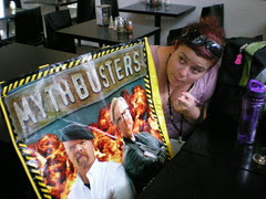 Giddy asks the Mythbusters what kind of pizza they want