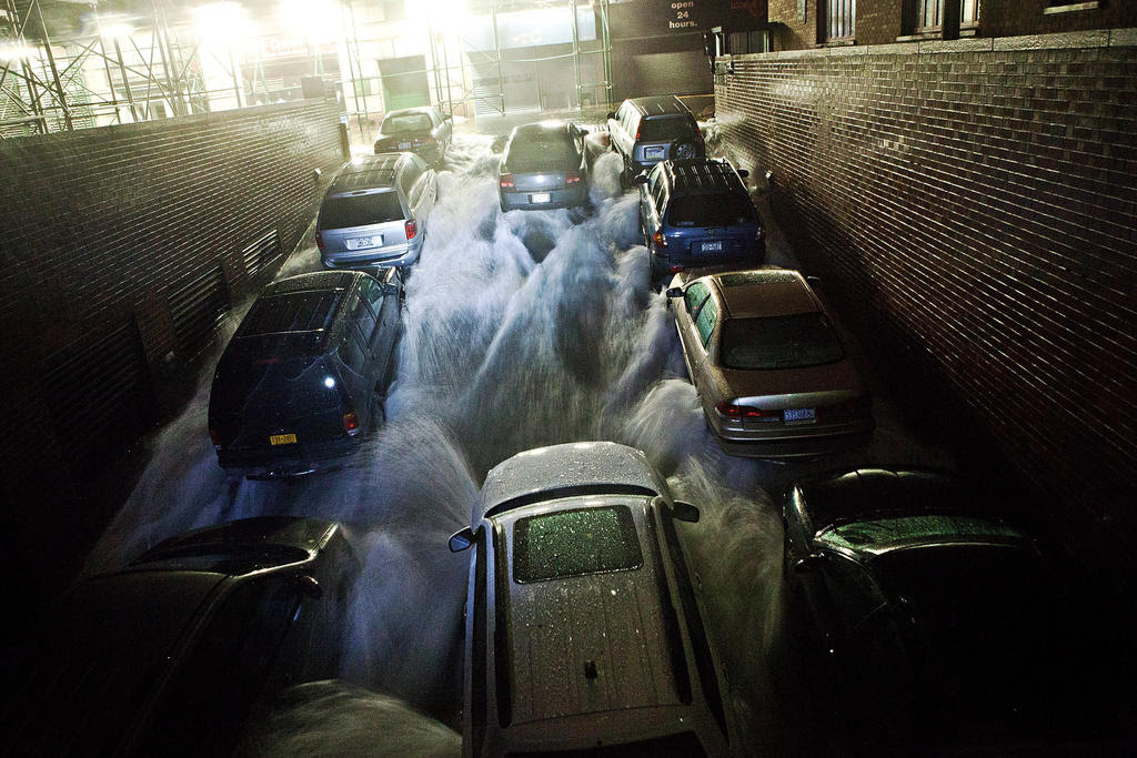 Rising water, caused by Hurricane Sandy, rushes into a underground parking garage in the Financial District of New York. Hurricane Sandy, which threatens 50 million people in the eastern third of the U.S., is expected to bring days of rain, high winds and possibly heavy snow. New York Governor Andrew Cuomo announced the closure of all New York City bus, subway and commuter rail services as of Sunday evening.