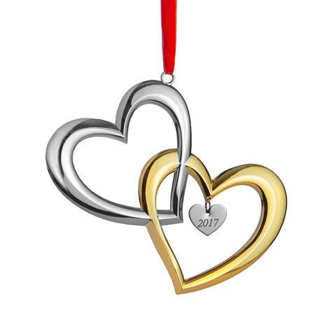 Our First Christmas Ornament, 2017, Hearts   Nambe