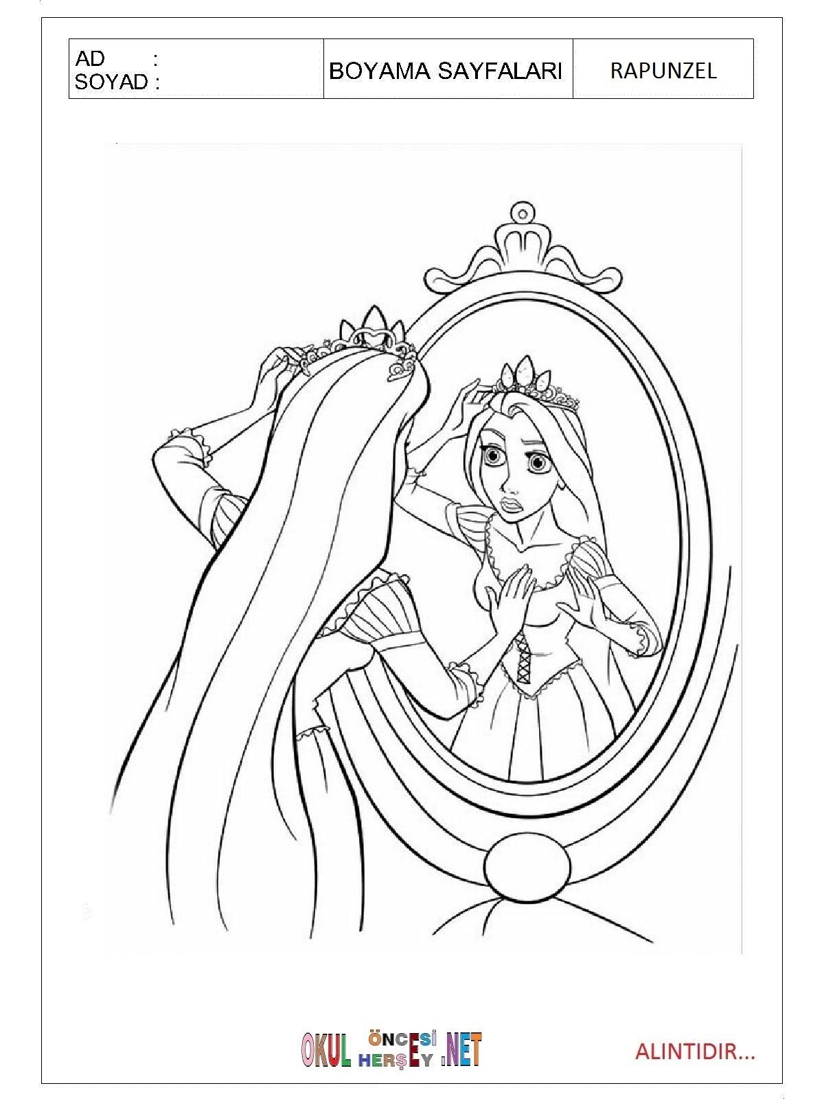 Rapunzel Boyama Sayfaları