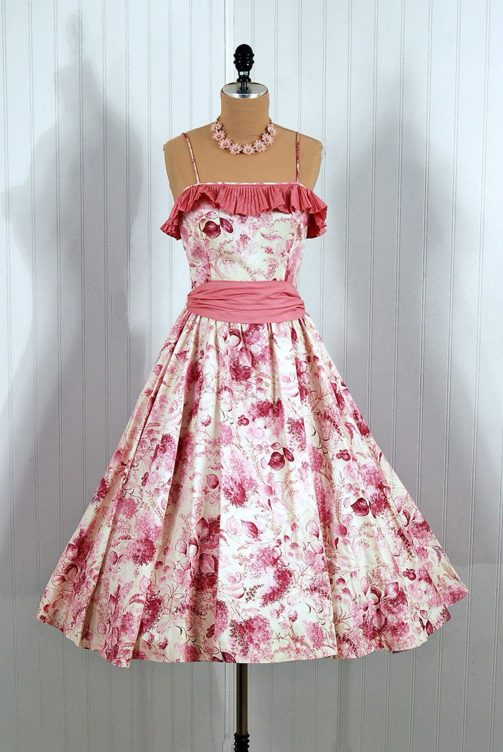 1950's Vintage Parade Designer Couture Pink Floral-Watercolor Garden Pleated Bombshell Party Sun Dress