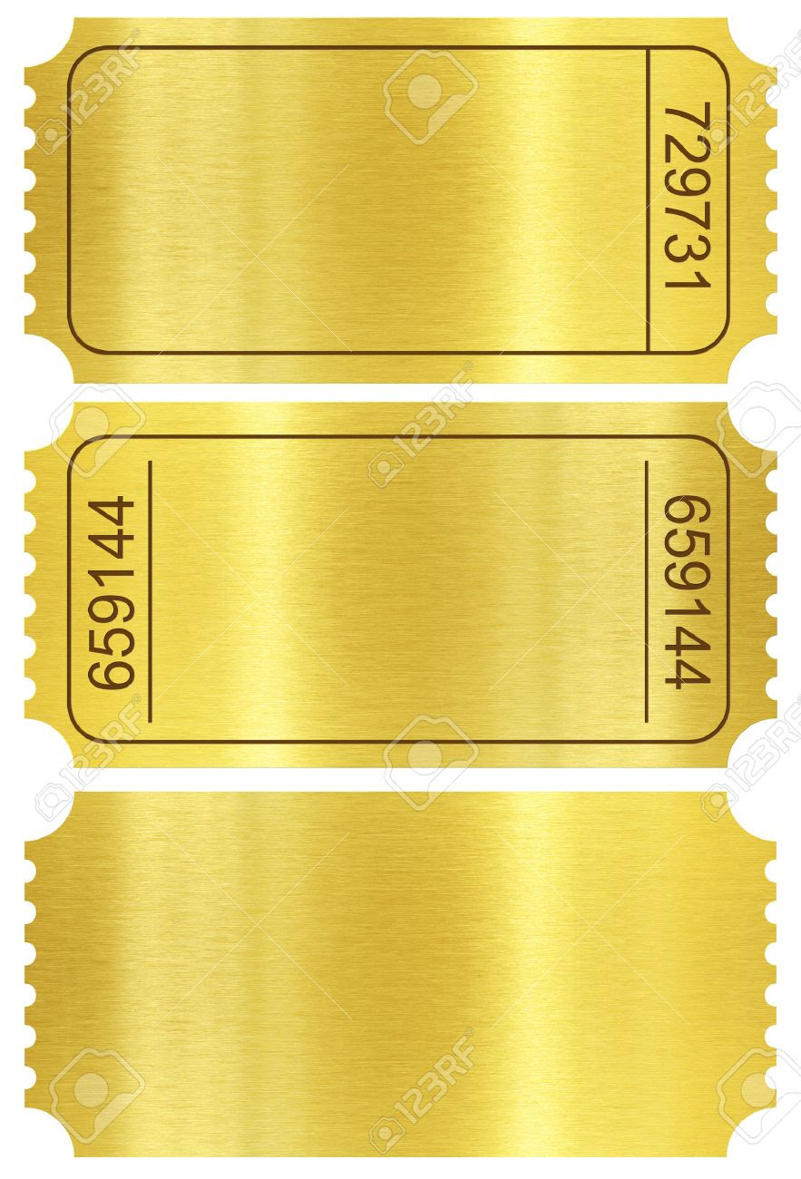 Ticket Set. Golden Ticket Stubs Set Isolated On White With ...