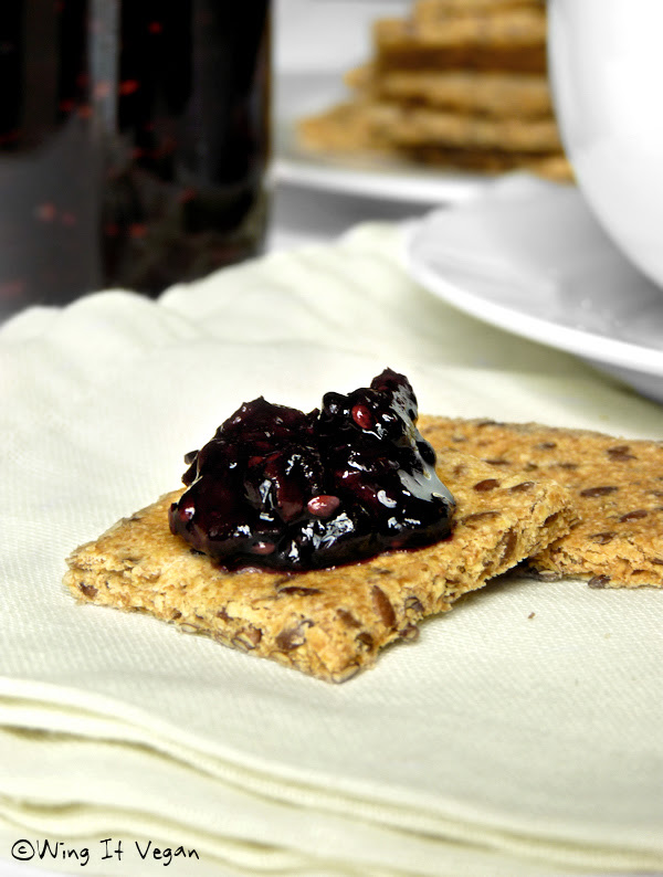 Basic Flax Crackers with Blackberry Jam (Practically Raw)