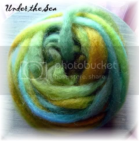 Romney & Mohair Roving, Under the Sea colorway