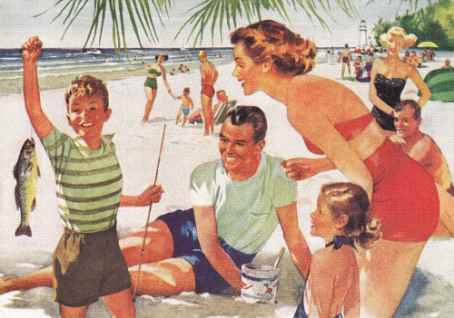 Beach Family - detail from 1949 Florida Tourism ad.