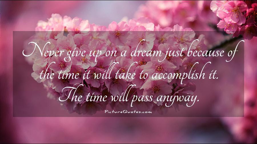 Never Give Up On A Dream Just Because Of The Time It Will Take
