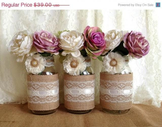 3 Day Sale Rustic Burlap And Lace Covered 3 Mason Jar Vases Wedding