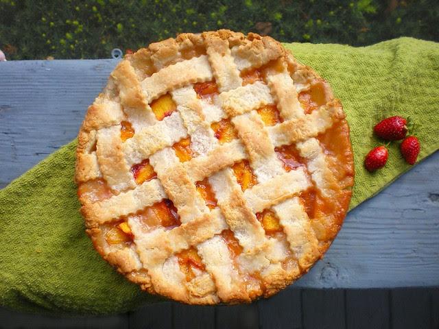 Lattice-top Peach Pie whole