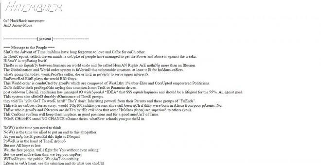 Mensaje que los hackers de Anonimous han colgado en la página web del club Bilderberg.