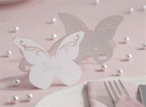 freestanding laser cut butterfly place cards by ginger ray