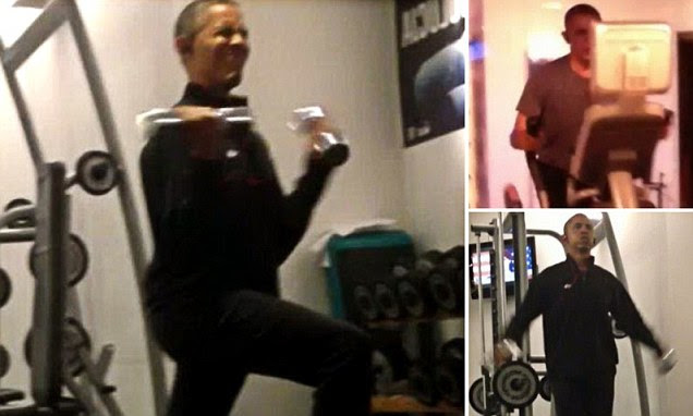 The snaps show the President taking time out from his busy schedule in Warsaw, Poland, to work out in his 5-star hotel's gym