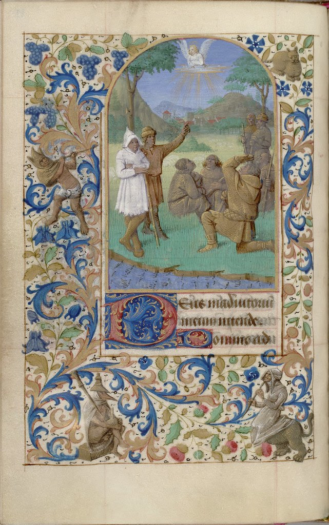 painted biblical manuscript miniature: the Annunciation