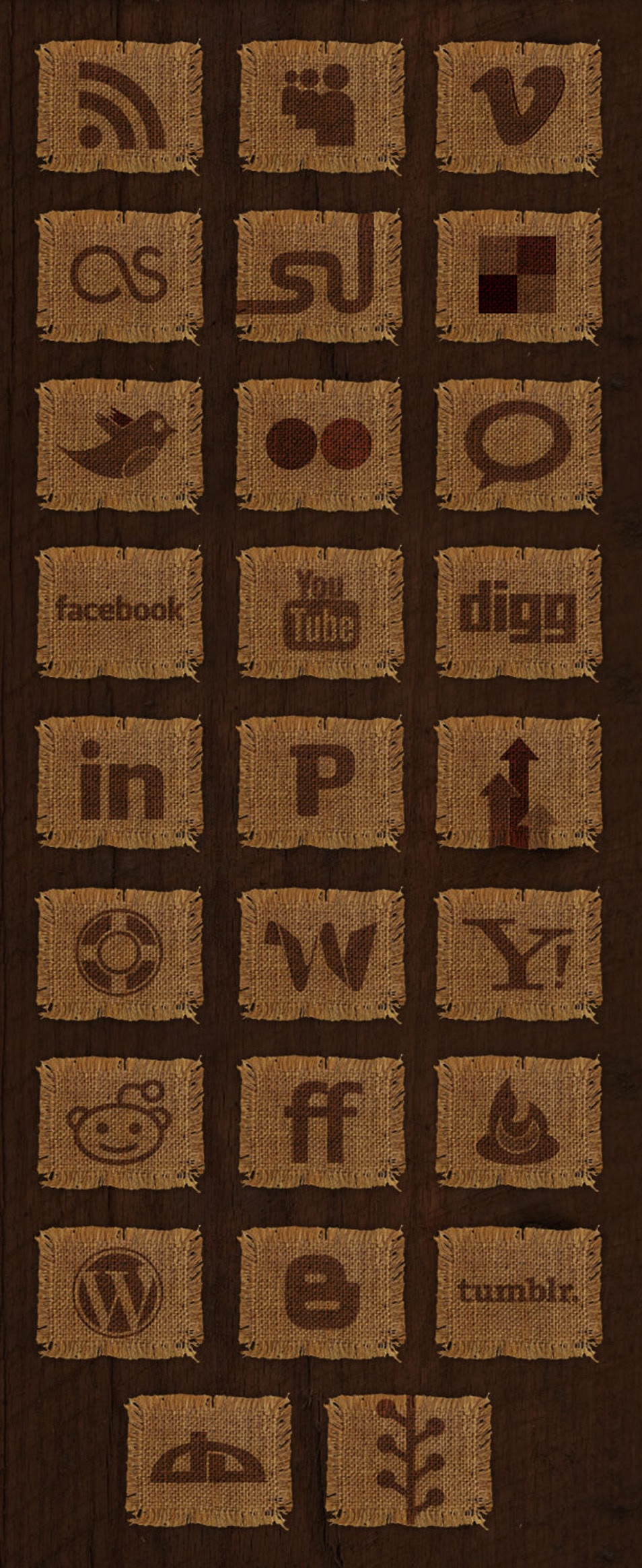 Woven Fabric Social Media Icon Set