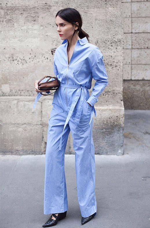 Le Fashion Blog Utilitarian Jumpsuit Trend For Spring Blue Jumpsuit Via Style Heroine
