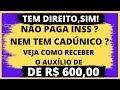 AUXÍLIO DE 600 REAIS DO GOVERNO MESMO SEM PAGAR INSS