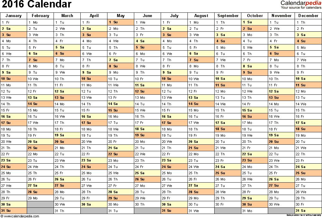 2016 Calendar - Download 16 free printable Excel templates (.xls)
