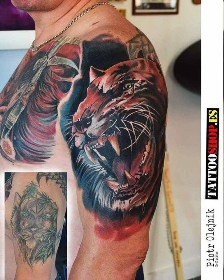 26a8101e08036 ... Ink @ tattoo Angervaniva La Muerte Kimmo cover cover up tattoo tiger  Gallery on Ideas Cover Shoulder Tiger Best Up Tattoo Tattoo ...