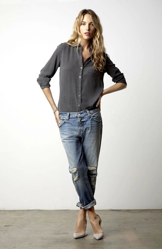 Le Fashion Blog Casual Chic Inspiration Effortless Waves Classic Button Down Shirt Distressed Boyfriend Jeans Light Grey Suede Heels photo Le-Fashion-Blog-Casual-Chic-Inspiration-Effortless-Waves-Classic-Button-Down-Shirt-Distressed-Boyfriend-Jeans-Light-Grey-Suede-Heels.jpg
