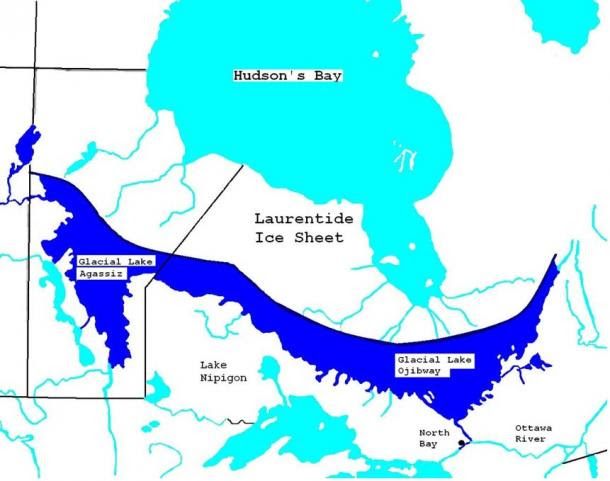 Map of Glacial Lake Agassiz and Lake Ojibway ca 7900 YBP.