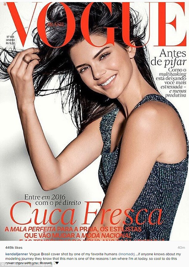 Kendall Jenner has rounded off her fantastic 2015 with a stunning front cover of Vogue Brazil