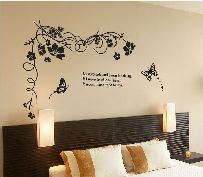 Black butterfly flowers home decor wall stickers crystal discount love wedding home decoration