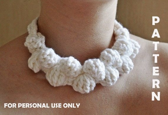 Crochet White Necklace PATTERN  / PDF format Pattern /  Crochet Accessories Pattern / Crochet Jewelry Pattern