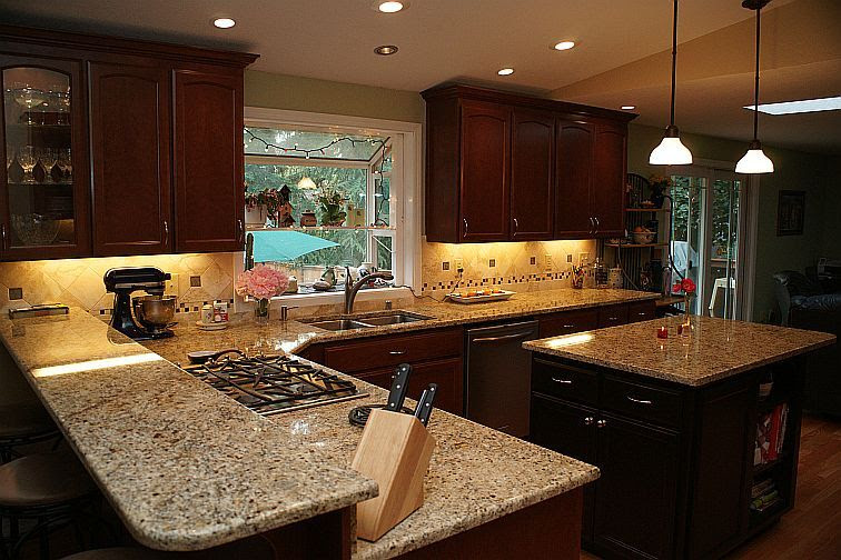 Giallo Napoli Granite Dark Cabinets Backsplash Ideas