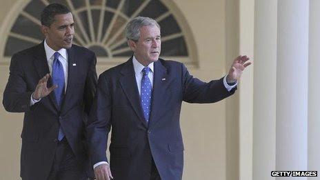 Barack Obama and George W Bush