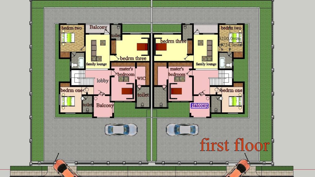 Luxury Two Bedroom Semi Detached House Plan - New Home ...