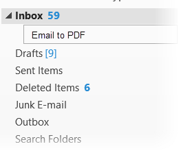 Image shows the Outlook folder structure and a new folder called Email To PDF