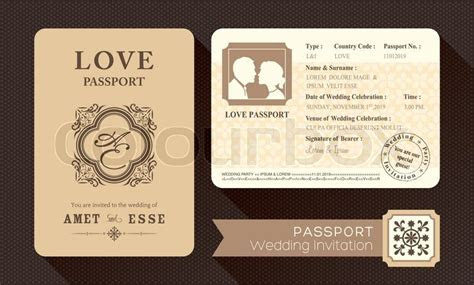 Vintage Passport Wedding Invitation card design template