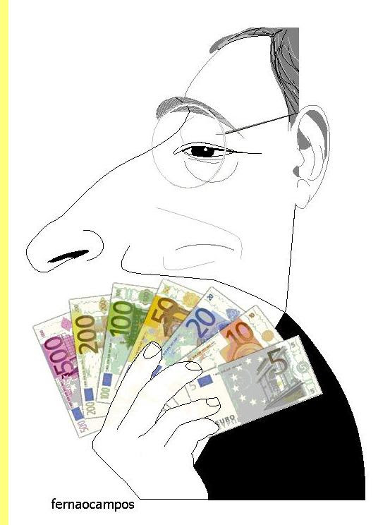 Mario Draghi, cartoon de Fernão Campos.