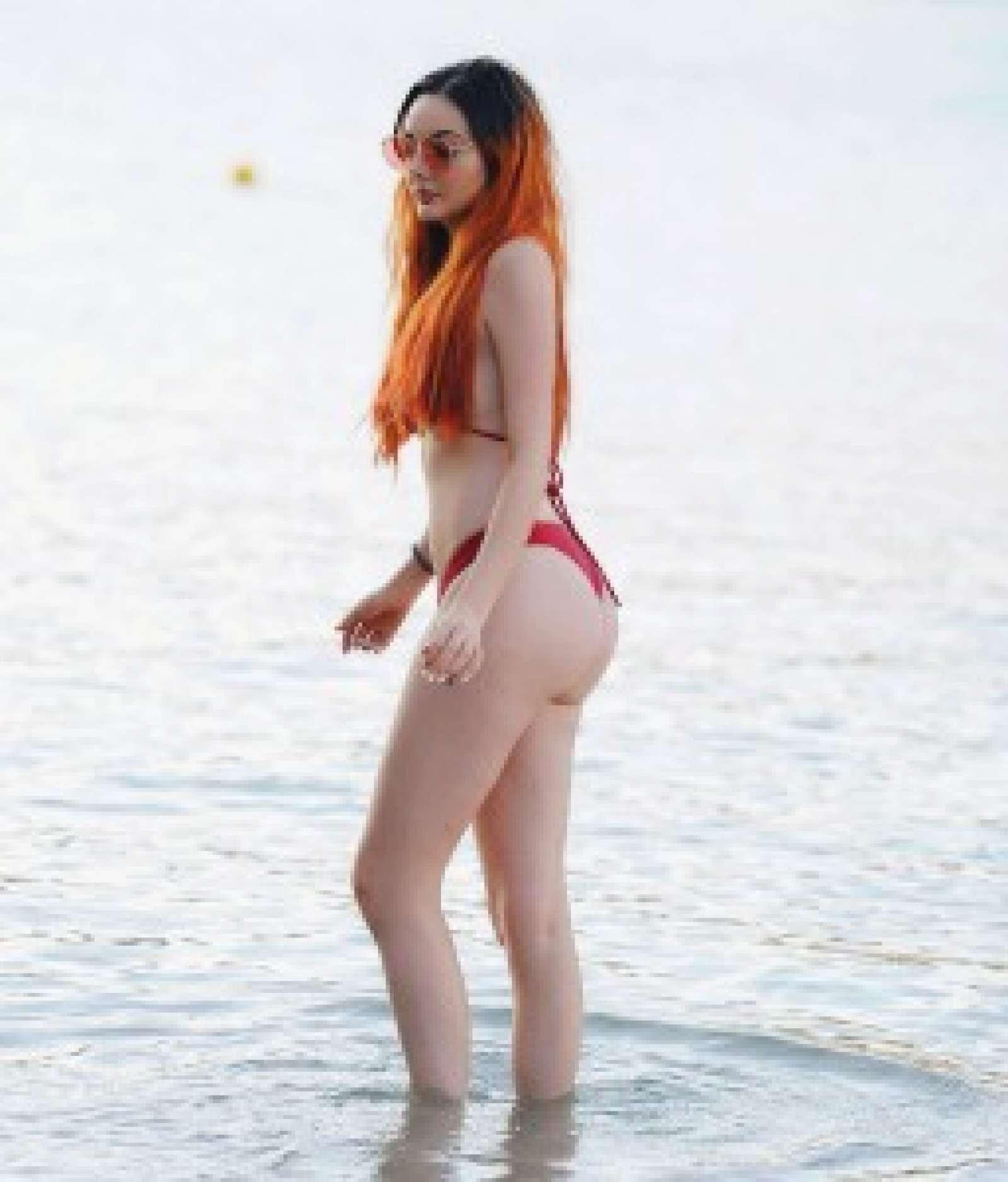Sarah Goodhart in Red Bikini on the beach in Tenerife